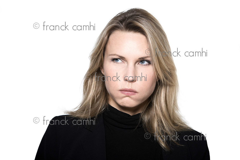 beautiful blond hair woman sulk bore pout  portrait on studio white isolated background