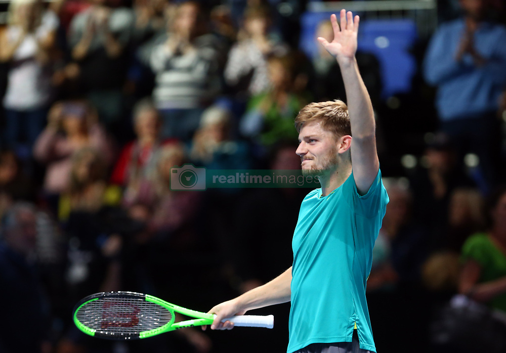 November 17, 2017 - London, United Kingdom - David Goffin of Belgium celebrates his win over  Dominic Thiem of Austia.during Day six of the Nitto ATP World Tour  Finals played at The O2 Arena, London on November 17 2017  (Credit Image: © Kieran Galvin/NurPhoto via ZUMA Press)