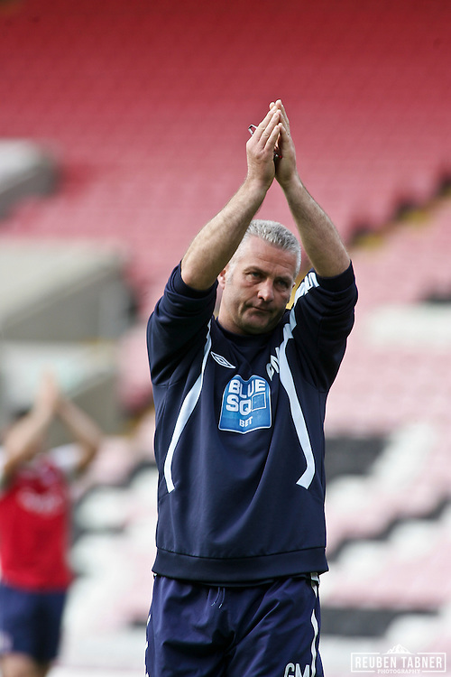 © Reuben Tabner. .Northern Echo Darlington Arena, Darlington, UK  23/04/11. .Darlington FC v York City FC..York City Manager Gary Mills. Please see special instructions for usage rates. Photo credit should read: Reuben Tabner