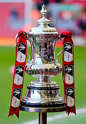 The FA Cup is displayed pitchside at Anfield ahead of the FA Cup Quarter Final tie between Liverpool and Blackburn Rovers - Photo mandatory by-line: Matt McNulty/JMP - Mobile: 07966 386802 - 08/03/2015 - SPORT - Football - Liverpool - Anfield Stadium - Liverpool v Blackburn Rovers - FA Cup