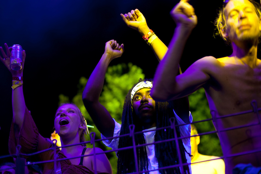 Euforquestra enjoyed an audience gleeful for the band's return to Iowa on Friday evening, July 17, 2015 at Camp Euforia, the annual music fest held near Lone Tree.