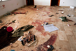 © under license to London News Pictures. 23/02/2011. Blood and clothes on the floor at the Lubrique Airport terminal in Lubrique, Libya, where 22 mercenaries loyal to Gadaffi were killed by the opposition. 600 mercenaries fought the opposition in a firefight lasting three days. Photo credit should read Michael Graae/London News Pictures