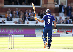 Gloucestershire's Geraint Jones celebrates reaching fifty on his final appearance before retiring - Mandatory byline: Robbie Stephenson/JMP - 07966 386802 - 19/09/2015 - Cricket - Lord's Cricket Ground - London, England - Gloucestershire CCC v Surrey CCC - Royal London One-Day Cup Final
