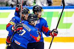 Players of South Korea celebrate during ice hockey match between South Korea and Slovenia at IIHF World Championship DIV. I Group A Kazakhstan 2019, on April 30, 2019 in Barys Arena, Nur-Sultan, Kazakhstan. Photo by Matic Klansek Velej / Sportida