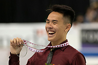 KELOWNA, BC - OCTOBER 27: Mens long program silver medalist, Nam Nguyen of Canada stands on the ice at Prospera Place on October 27, 2019 in Kelowna, Canada. (Photo by Marissa Baecker/Shoot the Breeze)