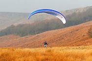 Paraglider landing underneath  Stanage Edge in Derbyshire ..., Travel, lifestyle