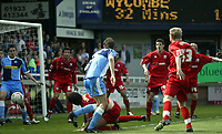 Photo: Marc Atkins.<br /> Rushden & Diamonds v Wycombe Wanderers. Coca Cola League 2. 22/04/2006. Drew Broughton (C) attempts an acrobatic effort.