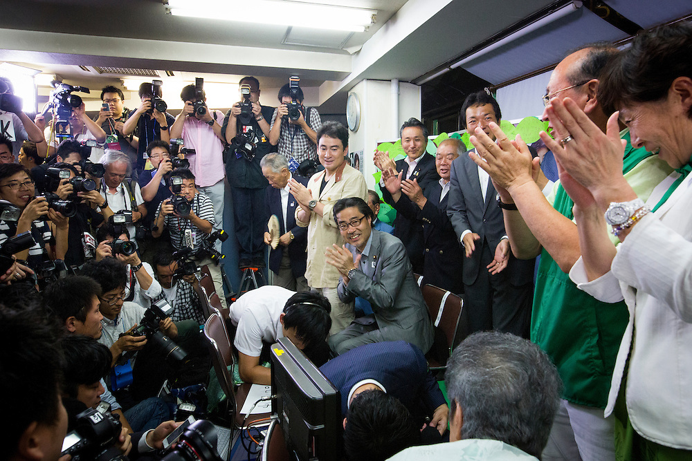 TOKYO, JAPAN - JULY 31 :  Supporters of Yuriko Koike celebrates after knowing that Candidate Yuriko Koike won for the new governor of Tokyo during a news conference at her office in Tokyo on Sunday, July 31, 2016, Japan. Yuriko Koike a Liberal Democratic Party lawmaker and former defense minister is the first women to be elected as a Governor of Tokyo. (Photo: Richard Atrero de Guzman/NURPhoto)