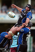 2005/06 Heineken Cup, Bath Rugby vs Bourgoin, The Rec, Bath,  ENGLAND: Danny Grewcock, watches his pass after winning the ball in the line out, supported by left Duncan Bell and Matt Stevens.   29.10.2005   © Peter Spurrier/Intersport Images - email images@intersport-images..