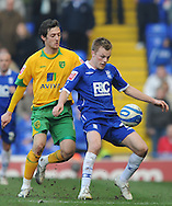 Birmingham - Saturday March 21st, 2009: Sebastian Larsson of Birmingham City and Dave Mooney of Norwich City during the Coca Cola Championship match at St Andrews, Birmingham. (Pic by Alex Broadway/Focus Images)