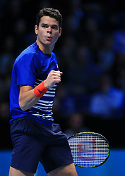 Canada's Milos Raonic celebrates taking a point against Austria's Dominic Thiem during day five of the Barclays ATP World Tour Finals at The O2, London. PRESS ASSOCIATION Photo. Picture date: Thursday November 17, 2016. See PA story TENNIS London. Photo credit should read: Jonathan Brady/PA Wire. RESTRICTIONS: Editorial use only, No commercial use without prior permission