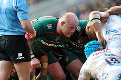 Dan Cole of Leicester Tigers prepares to scrummage against his opposite number - Photo mandatory by-line: Patrick Khachfe/JMP - Mobile: 07966 386802 28/03/2015 - SPORT - RUGBY UNION - Leicester - Welford Road - Leicester Tigers v Exeter Chiefs - Aviva Premiership