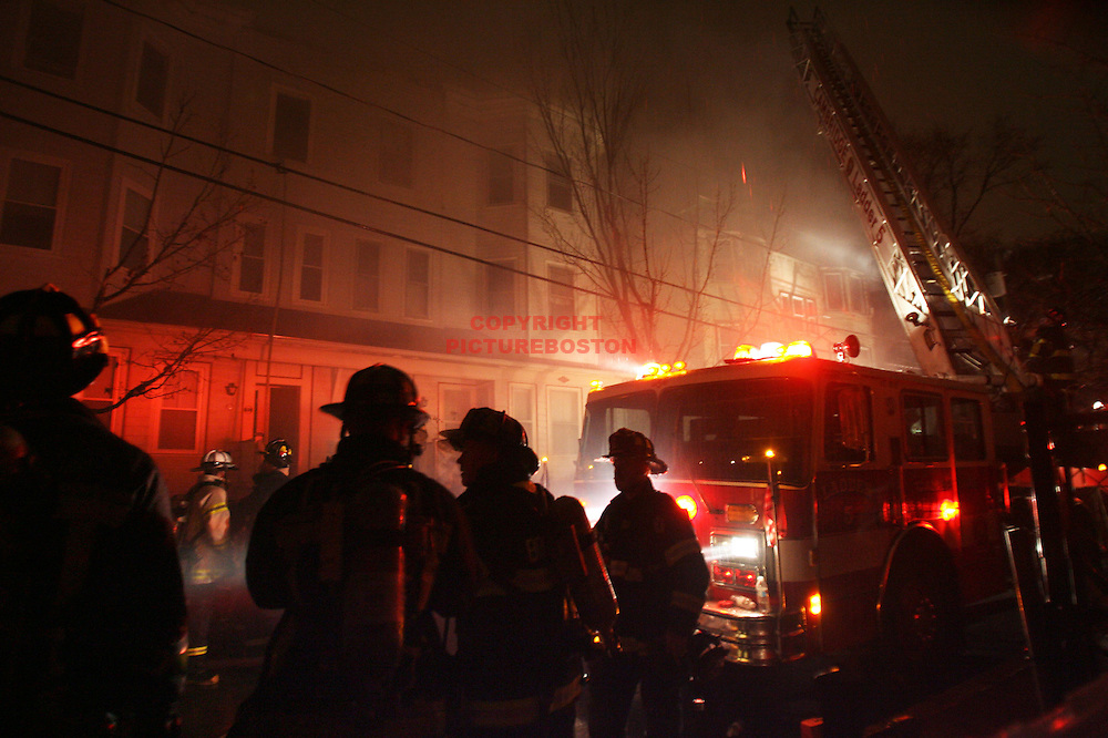 (11/25/08-Cambridge,MA) 5 alarm fire at 27 Prince st. Several evacuated from building by firefighters, including one over ladders in significant respiratory distress, according to Cambridge fire chief Gerald Reardon.
