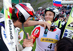 Primoz Peterka and Robert Kranjec of Slovenia during Ski Jumping Summer Continental Cup in Kranj and last jump of Primoz Peterka's career, one of the best ski jumpers in history, on July 2, 2011, in Kranj, Slovenia. (Photo by Vid Ponikvar / Sportida)