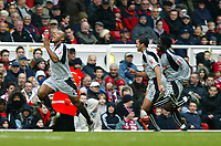 Photo. Chris Ratcliffe, Digitalsport<br /> Arsenal v Stoke City. FA Cup Third Round. <br /> 09/01/2005<br /> Wayne Thomas celebrates his opening strike as his fellow players try to catch up.