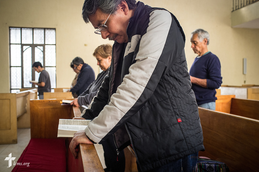 Church members and guests pray during worship at the Lutheran Church of San Pedro on Sunday, Feb. 14, 2016, in Mexico City, Mexico. LCMS Communications/Erik M. Lunsford
