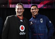 Vodafone NZ CEO Russell Stanners and Roger Tuivasa-Sheck. Vodafone New Zealand announce the renewing of sponsorship for the Vodafone Warriors at InnoV8 Auckland Vodafone HQ, North Shore, Auckland. Thursday 24 May 2018. © Copyright Image: Andrew Cornaga / www.photosport.nz