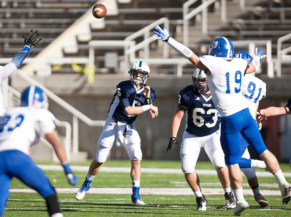 Syracuse quarterback Spencer Johnson (6) throws a pass during the Utah State High School 5A Football semifinal between Syracuse and Bingham in Rice-Eccles Stadium, Thursday, Nov. 8, 2012.