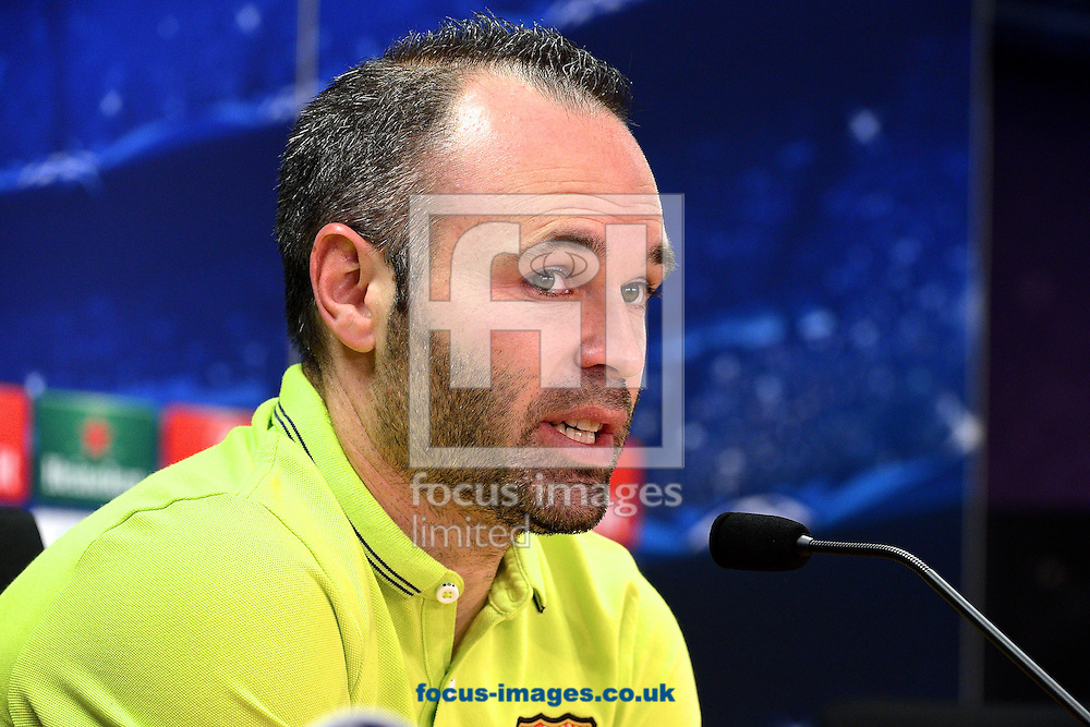 Andr&eacute;s Iniesta of FC Barcelona pictured during a press conference at Ciutat Esportiva Joan Gamper, Sant Joan Desp&iacute; ahead of their UEFA Champions League last 16 second leg match against Manchester City.<br /> Picture by Ian Wadkins/Focus Images Ltd +44 7877 568959<br /> 17/03/2015