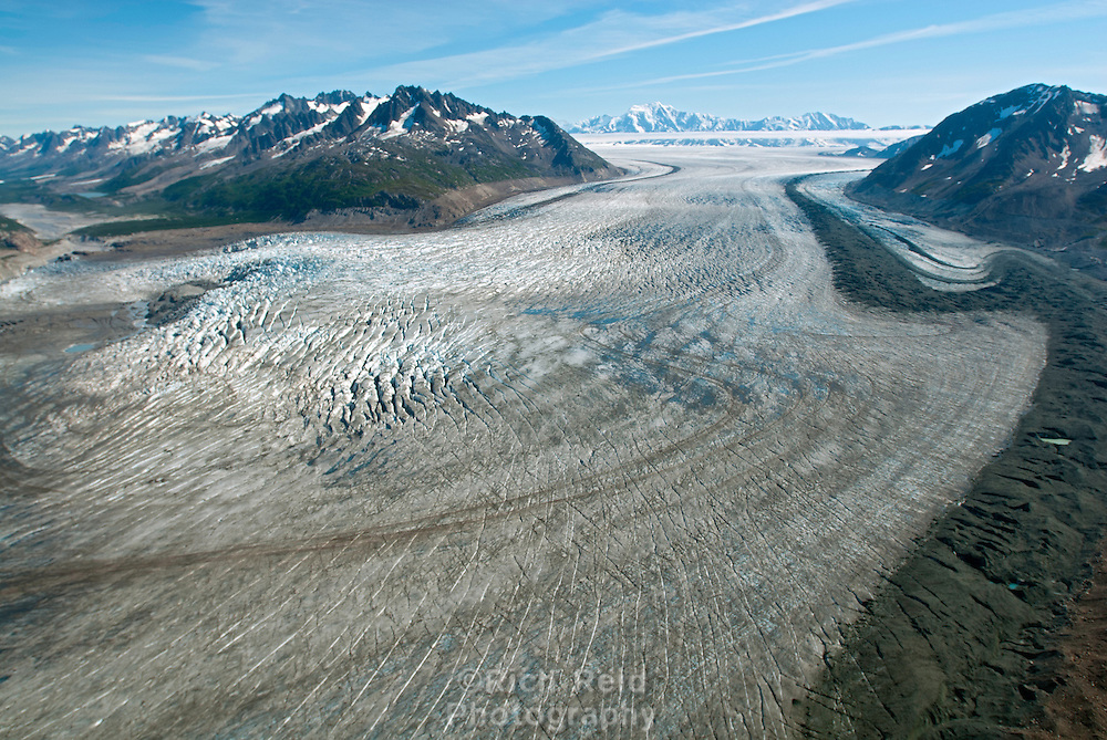 Aerial of the Chugach Mountains, Tana Glacier, Bagley Icefield and Mount Miller in Wrangell - Saint Elias National Park, Alaska.