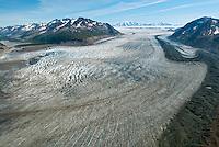 Aerial of the Chugach Mountains, Tana Glacier, Bagley Icefield and Mount Miller in Wrangell - Saint Elias National Park, Alaska.