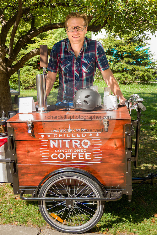 Nitro chilled coffee stand at a farmers market in Wicker Park August 2, 2015 in Chicago, Illinois, USA