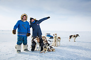 Charlotte Crosby TLC Travel show. Charlotte with Joey and the husky sled on day one of the Igloolik expedtion