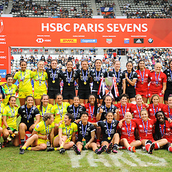Team of Australia (argent medal), team of New Zealand (gold medal) and team of Canada (bronze medal) celebrate  after the Final women match between New zealand and Australia at the HSBC Paris Sevens, stage of the Rugby Sevens World Series at Stade Jean Bouin on June 10, 2018 in Paris, France. (Photo by Sandra Ruhaut/Icon Sport)