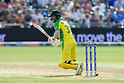 David Warner of Australia batting during the ICC Cricket World Cup 2019 match between Afghanistan and Australia at the Bristol County Ground, Bristol, United Kingdom on 1 June 2019.