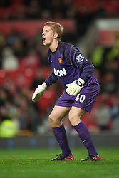 MANCHESTER, ENGLAND - Tuesday, October 26, 2010: Manchester United's goalkeeper Ben Amos in action against Wolverhampton Wanderers during the Football League Cup 4th Round match at Old Trafford. (Pic by: David Rawcliffe/Propaganda)