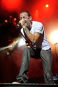 Linkin Park performing on the Projekt Revolution Tour 2008 in St. Louis, Missouri on August 28, 2008.