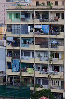 Crowded apartment blocks in District 1 of Ho Chi Minh City, Vietnam
