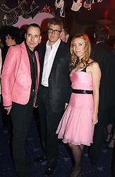 Left to right, DAVID FURNISH, JAY JOPLING and SAM TAYLOR-WOOD at a party and fashion show by Agent Provocateur at the Cafe de Paris, Coventry Street, London W1 on 14th February 2005.<br />