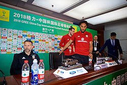 NANNING, CHINA - Sunday, March 25, 2018: Wales' captain Ashley Williams arrives for a press conference at the Guangxi Sports Centre ahead of the 2018 Gree China Cup International Football Championship final match against Uruguay. (Pic by David Rawcliffe/Propaganda)