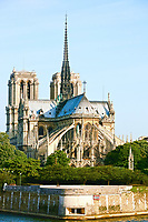 Notre Dame de Paris carhedral on the la seine riverside france