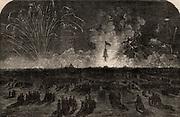 Crimean (Russo-Turkish) War 1853-1856. Fireworks at Blackheath near London,England, celebrating the fall of Sebastopol (Sevastopol), 11 September 1855.  From 'The Illustrated London News (London, 22 September 1855). Engraving.