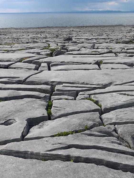 Ireland western coast Burren region Karst limestone landscape