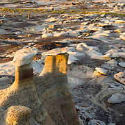 Hoodoo formations at sunset during the summer heat in the Bisti Wilderness in New Mexico.