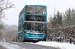 An abandoned bus on the Shipbourne Road near Tonbridge, Kent, after heavy snow  Tuesday, 12th March 2013.  Photo by: Stephen Lock / i-Images