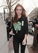 17.MARCH.2011. LONDON<br /> <br /> UNA HEALY OF THE SATURDAYS ARRIVING AT ALL STAR BOWLING LANES IN BLOOMSBURY WEARING A FOUR LEAF CLOVER T SHIRT IN AID OF ST.PATRICKS DAY ALONG WITH THE REST OF THE SATURDAYS.<br /> <br /> BYLINE: EDBIMAGEARCHIVE.COM<br /> <br /> *THIS IMAGE IS STRICTLY FOR UK NEWSPAPERS AND MAGAZINES ONLY*<br /> *FOR WORLD WIDE SALES AND WEB USE PLEASE CONTACT EDBIMAGEARCHIVE - 0208 954 5968*
