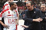 Simone Pianigiani time out EA7 Armani Milano, EA7 Emporio Armani Milano vs Red October Cantù - 11 giornata Campionato LBA 2017/2018, Mediolanum Forum 17 dicembre 2017 - foto BERTANI/Ciamillo