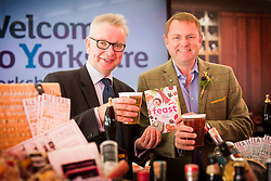 © Licensed to London News Pictures. 12/07/2017. Harrogate UK. Michael Gove Secretary of State for Environment, Food & Rural Affairs looks at Beer with Sir Gay Verity at the 159th Great Yorkshire Show in Harrogate today. Photo credit: Andrew McCaren/LNP