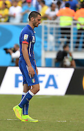 Leonardo Bonucci of Italy reacts after going out during the 2014 FIFA World Cup match at Arena das Dunas, Natal<br /> Picture by Stefano Gnech/Focus Images Ltd +39 333 1641678<br /> 24/06/2014