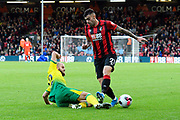 Diego Rico (21) of AFC Bournemouth is tackled by Teemu Pukki (22) of Norwich City during the Premier League match between Bournemouth and Norwich City at the Vitality Stadium, Bournemouth, England on 19 October 2019.