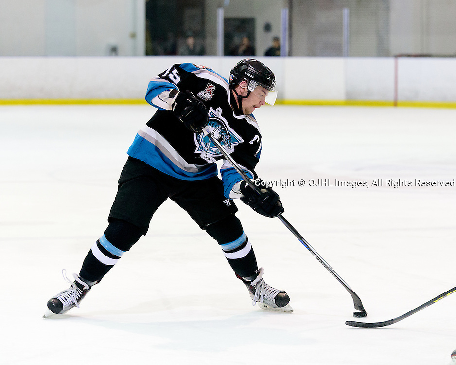 KINGSTON, ON - FEB 19,  2017: Ontario Junior Hockey League game between   Lindsay Muskies and Kingston Voyageurs, Cameron Lamport #19 of the Lindsay Muskies with some fancy moves during the 2nd period.<br /> (Photo by Ian Dixon/ OJHL Images)