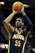 Feb. 2, 2011; Cleveland, OH, USA; Indiana Pacers center Roy Hibbert (55) shoots a free throw during the third quarter against the Cleveland Cavaliers at Quicken Loans Arena. The Pacers beat the Cavaliers 117-112. Mandatory Credit: Jason Miller-US PRESSWIRE