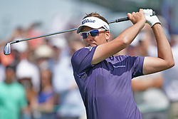 June 16, 2018 - Southampton, NY, USA - Ian Poulter hits from the 1st tee during the third round of the 2018 U.S. Open at Shinnecock Hills Country Club in Southampton, N.Y., on Saturday, June 16, 2018. (Credit Image: © Brian Ciancio/TNS via ZUMA Wire)