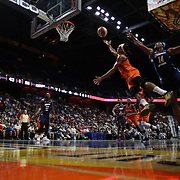 UNCASVILLE, CONNECTICUT- JUNE 3:   Jasmine Thomas #5 of the Connecticut Sun drives past Rachel Hollivay #14 of the Atlanta Dream for two points during the Atlanta Dream Vs Connecticut Sun, WNBA regular season game at Mohegan Sun Arena on June 3, 2016 in Uncasville, Connecticut. (Photo by Tim Clayton/Corbis via Getty Images)