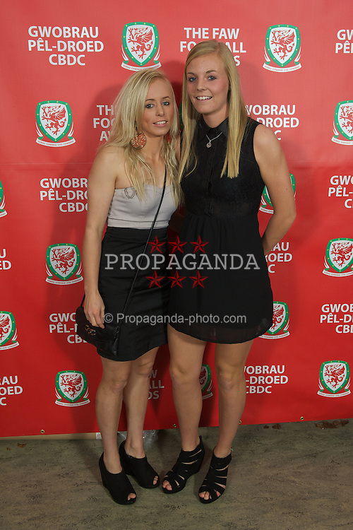CARDIFF, WALES - Monday, October 8, 2012: Wales' Nadia Lawrence [l] and Sophie Ingle during the FAW Player of the Year Awards Dinner at the National Museum Cardiff. (Pic by David Rawcliffe/Propaganda)