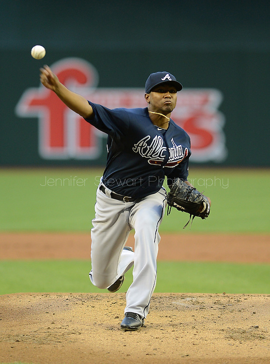 May 14, 2013; Phoenix, AZ, USA; Atlanta Braves pitcher Julio Teheran (49)  pitches against the Arizona Diamondbacks in the first inning at Chase Field. Mandatory Credit: Jennifer Stewart-USA TODAY Sports